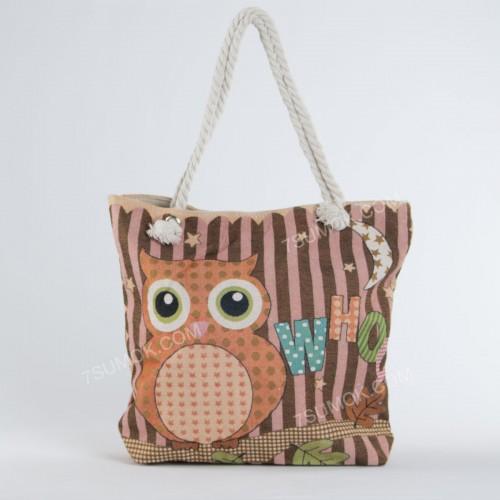 Пляжна сумка 010 owl pink