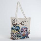 Пляжна сумка 010 owl beige