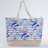 Пляжна сумка 9917 beige-blue