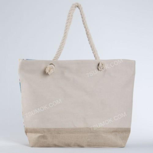 Пляжна сумка 9917 beige-yellow