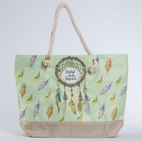 Пляжна сумка 9917 beige-light green