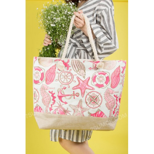 Пляжна сумка 9917 beige-pink