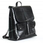 Жіночий рюкзак R023 black-crocodile-glyanec