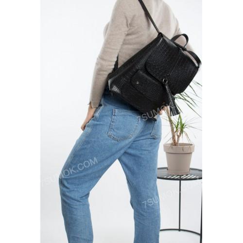 Жіночий рюкзак R023 black-crocodile-matovui