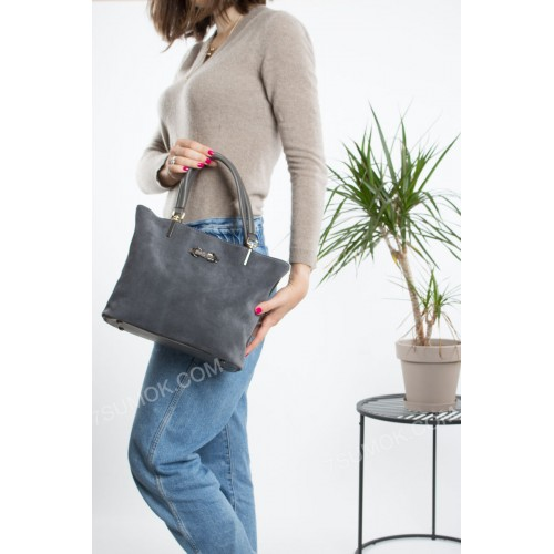 Жіноча сумка 010M gray-zamsha