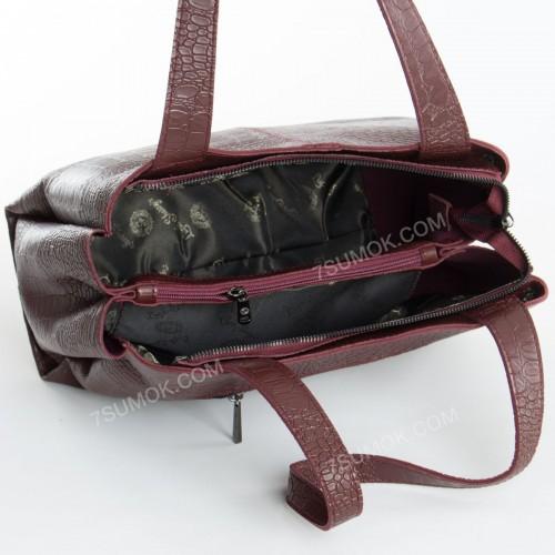 Жіноча сумка 084N bordo-crocodile