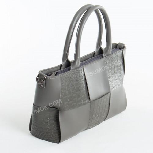 Жіноча сумка 096 gray-crocodile-kombi