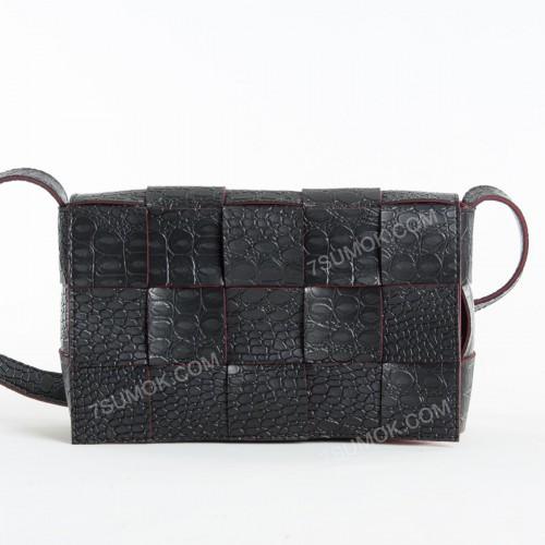 Клатч 099 black-red-crocodile