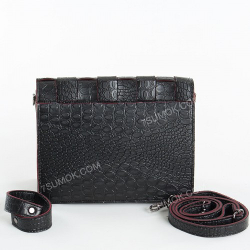 Клатч 079 black-red-crocodile