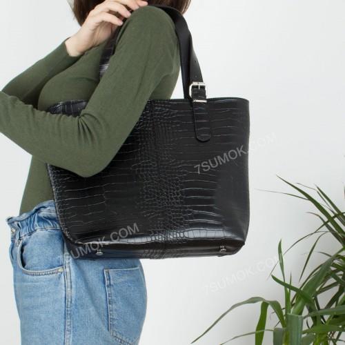 Жіноча сумка 094 black-crocodile