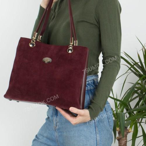 Жіноча сумка 026 bordo-zamsha