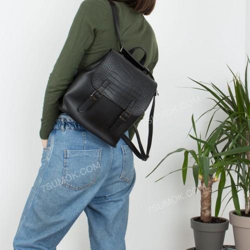 Жіночий рюкзак R013 mini black-crocodile-kombi
