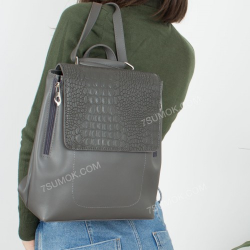 Жіночий рюкзак R014 gray-crocodile-kombi