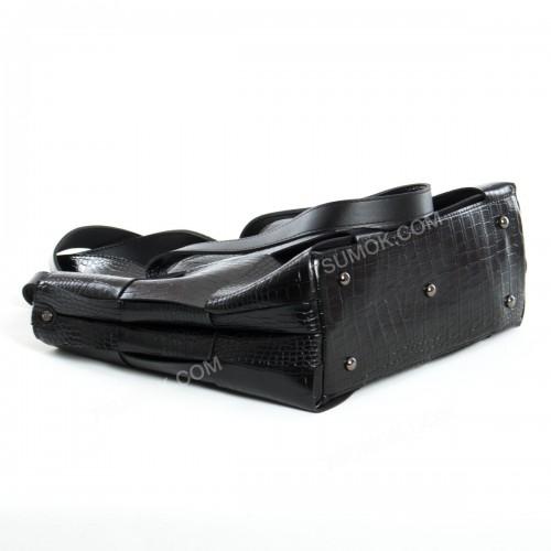 Жіноча сумка 106 black-crocodile-pletenka