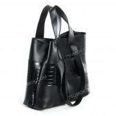 Жіноча сумка 106 black-crocodile-kombi-pletenka