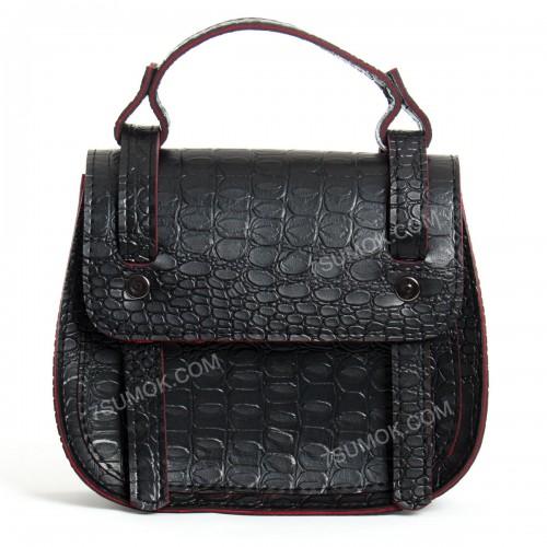 Клатч 046 black-red-crocodile