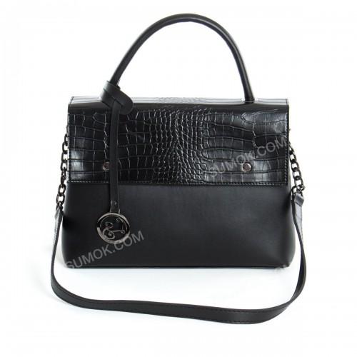 Жіноча сумка 091 black-crocodile-kombi