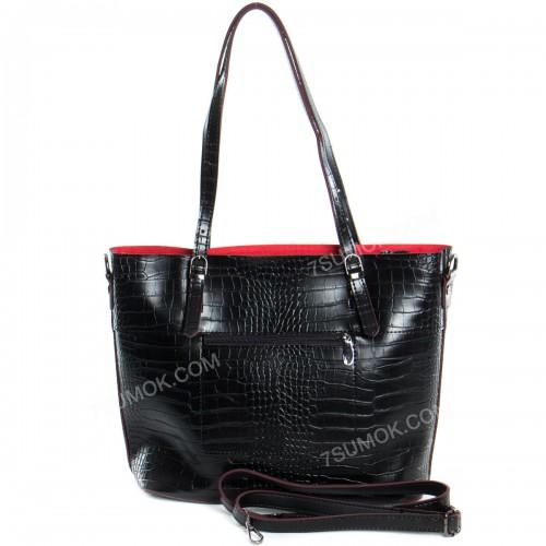 Жіноча сумка 110 black-red-crocodile
