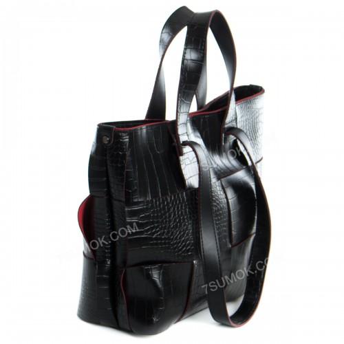 Жіноча сумка 106 black-red-crocodile-pletenka