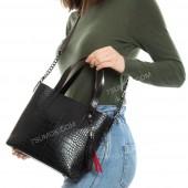 Жіноча сумка 112 black-red-crocodile