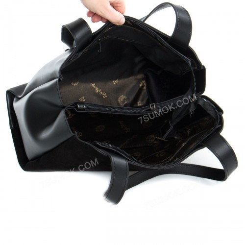 Жіноча сумка 084N black-zamsha-kombi