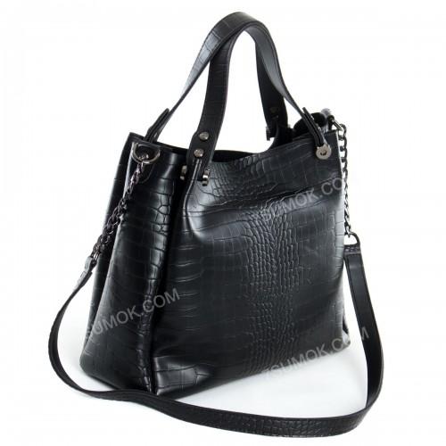 Жіноча сумка 084E black-crocodile