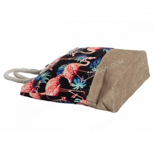 Пляжна сумка 117 black-flamingo
