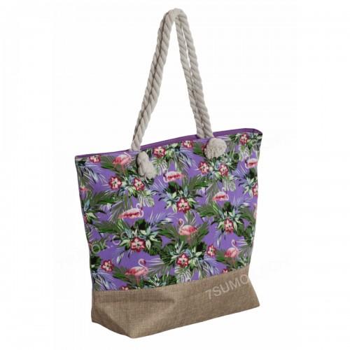 Пляжна сумка 117 purple-flamingo